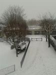 neige,école,blocage,arbres nus,paysage